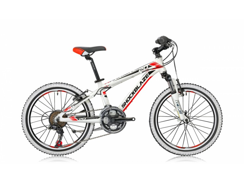 Mountainbike 20inch - Shockblaze Warrior 20 wit-rood - MargeWebshop