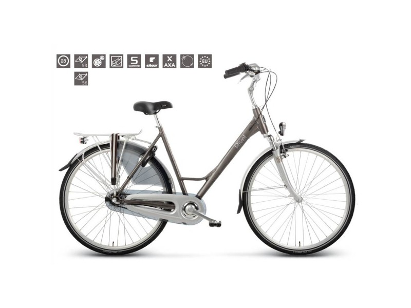 Damesfiets 28inch - Rivel Harvard City N3 taupe 53cm