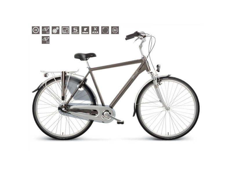 Herenfiets 28inch - Rivel Harvard City N3 taupe 56cm